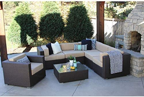 Amazon Com Overstock Alexandra 7 Pc Modern Outdoor Rattan Patio
