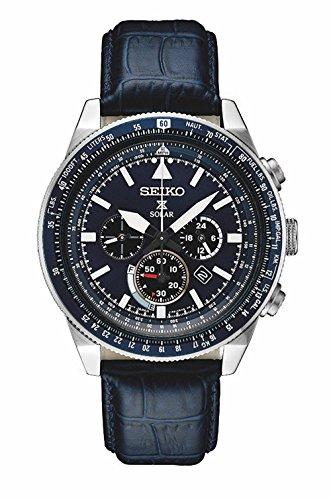 Seiko Men's Prospex Solar Chronograph Watch With Black Leather Strap