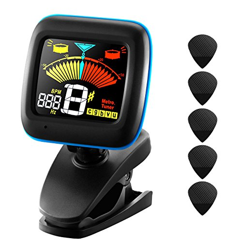 Guitar Tuner, Atmoko Clip-on Electronic Tuner Acoustic and Metronome for Guitar, Ukulele, Bass, Violin and Chromatic Tuning, Clear LCD Colorful Display, Guitar Picks Included (Tuner/Battery Powered)