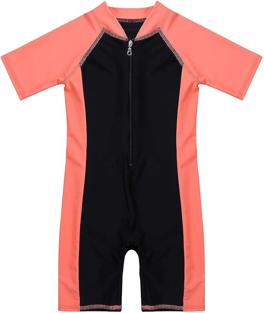 TTAO Kids Boys//Girls One Piece Short Sleeves Zippered Rash Guard Shorty Wetsuit Swimsuit Bathing Suit UPF 50+