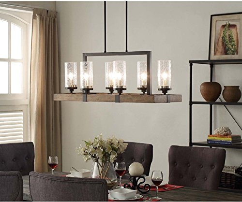 Vineyard Rustic Style 6-Light Glass Fixture Metal And Wood Ceiling Chandelier .#GH45843 3468-T34562FD589272 by Nessagro