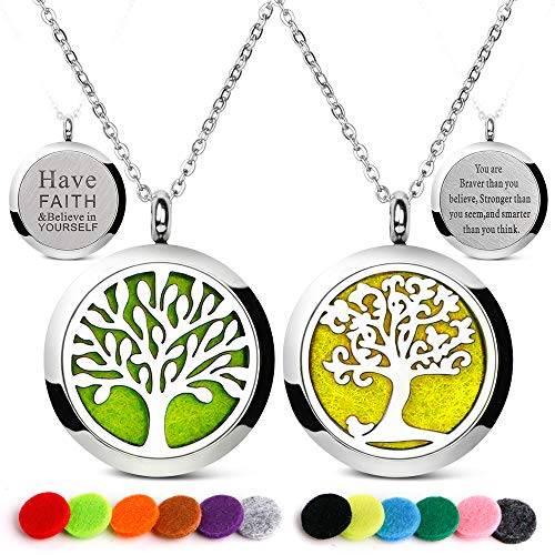RoyAroma 2PCS Mini Diffuser Necklace Aromatherapy Essential Oil Diffuser Necklaces Locket Pendant Stainless Steel Perfume Lettering Necklaces with 24PCS Felt -