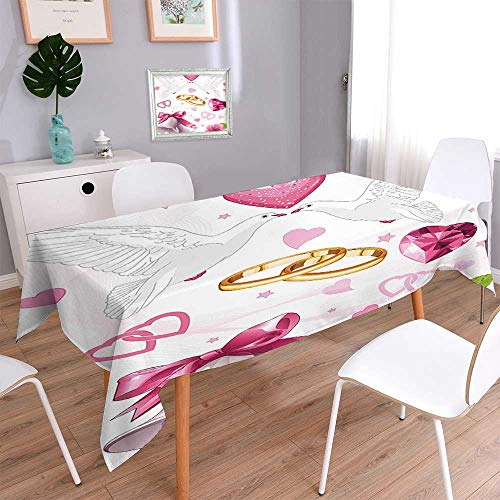 Jiahonghome Indoor/Outdoor Spillproof Tablecloth Wedding Themed Artwork Invitation Announcement Hearts Rings Birds Pink White Gold Table Cover ()