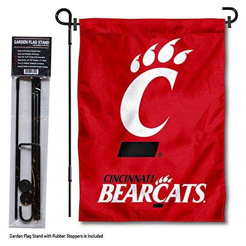 College Flags and Banners Co. Cincinnati Bearcats Red Garden Flag with Pole Stand Holder