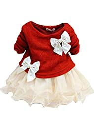 Baby Girls Dresses Long Sleeve Blue Pink Red Sweater Lace Butterfly Bowknot