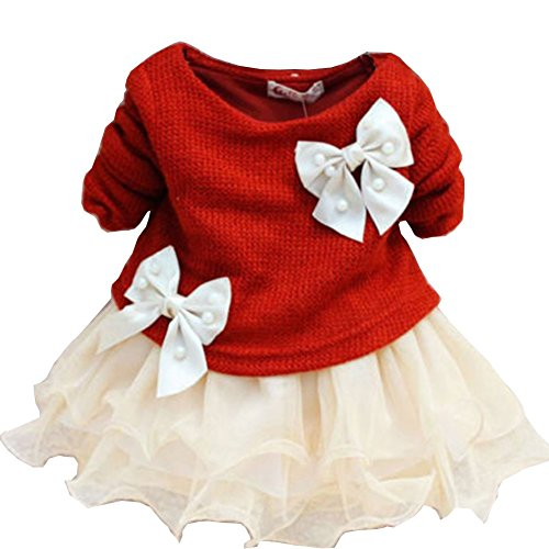Juicart Baby Girls Dresses Long Sleeve Crochet Sweater Tops Lace Bowknot Tutu Clothing (9-12 Months, Red)