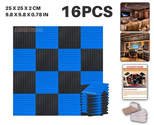 ace-punch-16-pack-black-and-blue-color-combination-flat-wedge-acoustic-foam-panel-diy-design-studio-