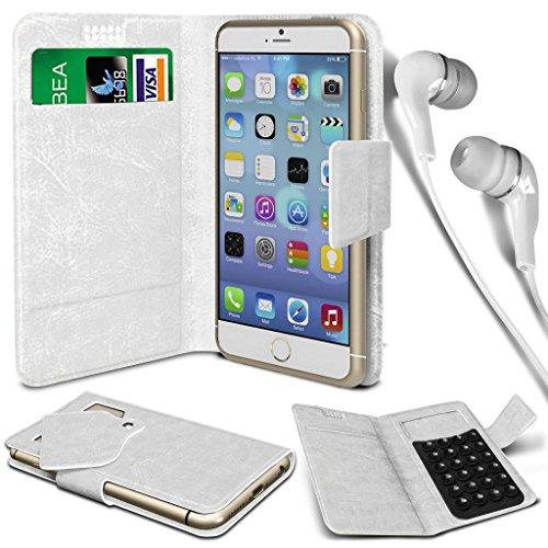 N4U Online® - Apple iPhone PU aspiration étui en cuir Wallet Pad Cover & 3,5 mm stéréo intra-auriculaires - Blanc