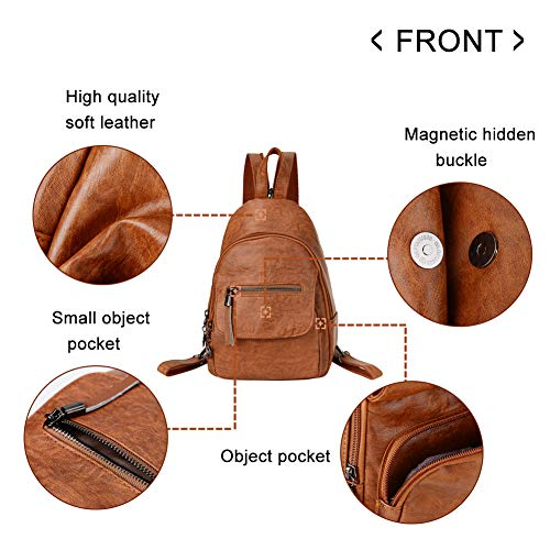 Sling Bag for Purse Shoulder Small Brown Leather Convertible Backpack Women wWnqqFAU