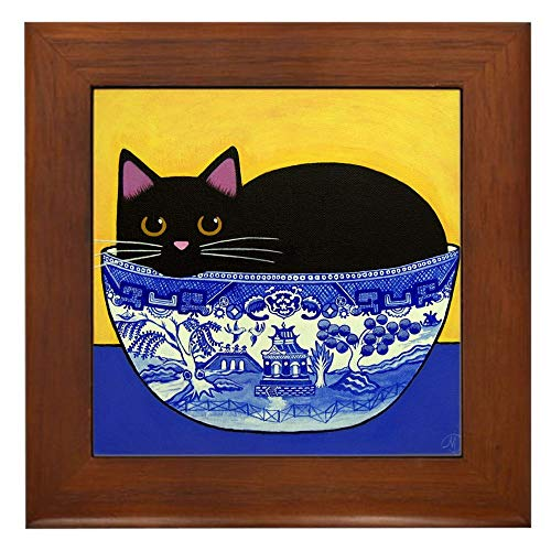 CafePress Black CAT in Blue Willow Bowl Framed Tile, Decorative Tile Wall Hanging
