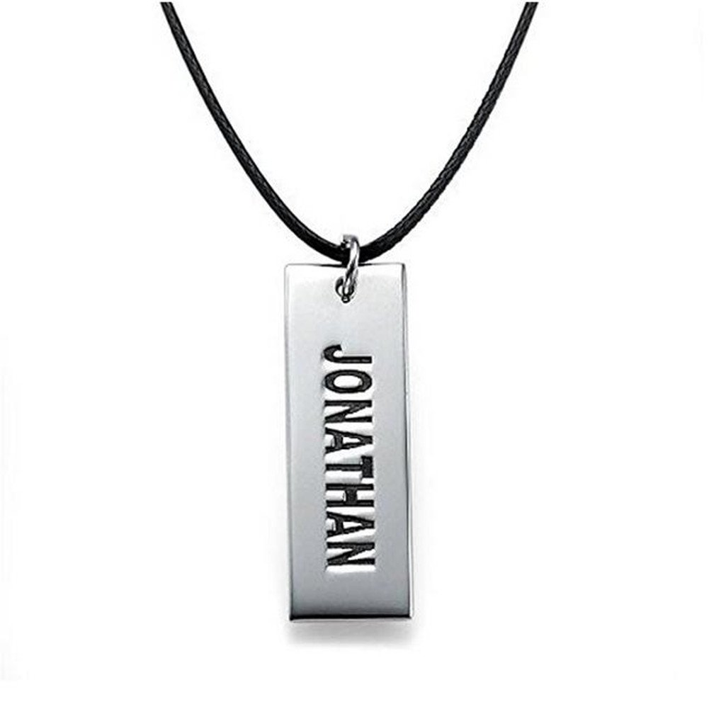 FUJIN Personalized 925 Sterling Silver Justin Bieber Style Dog Tag Necklace Custom Made with Any Name (Silver)