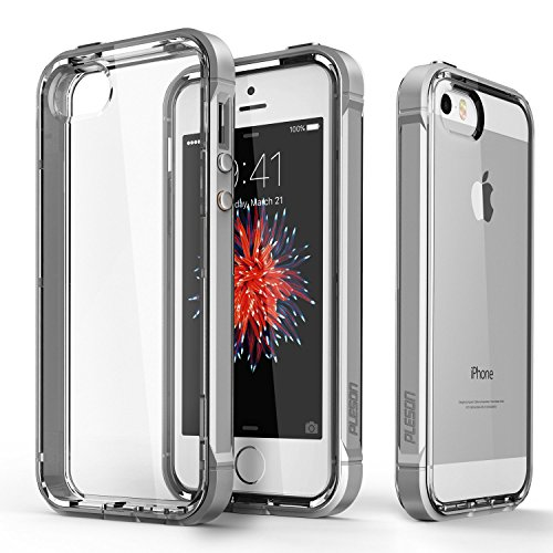 iPhone SE Case, PLESON [Crystal Bumper] iPhone SE Case Cover, Dual Layer Case [FREE Screen Protector] [Drop Protection] TPU/PC Bumper and Scratch Resistant Crystal Clear Case for iPhone SE/5/5s