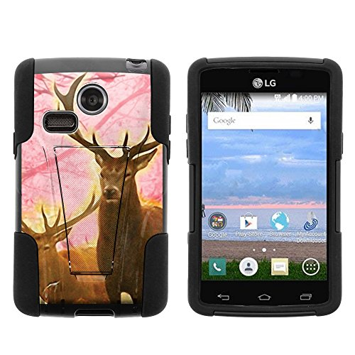 MINITURTLE Case Compatible w/ LG Sunrise Case, LG Lucky Case, Dual Armor Fusion STRIKE Impact Stand Case w/ Unique Designs for LG Sunrise L15G, LG Lucky L16C (Straight Talk, TracFone, Net10) Pink Deer Stag