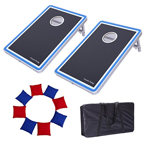 Victoria Young Supreme Quality Aluminum Frame Cornhole Bean Bag Toss Game Set Portable with 8 Bean Bags ( 2.95ft x 1.95ft)
