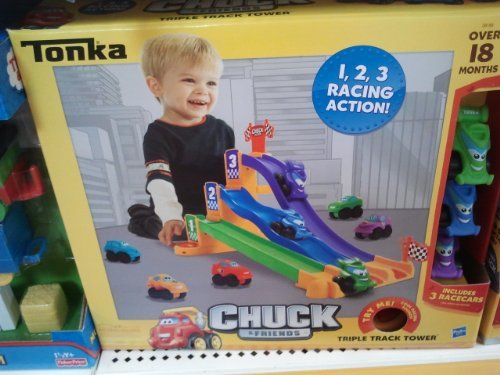 Tonka Chuck and Friends Triple Track Tower with Cool Racing Sounds and 3 Race Cars