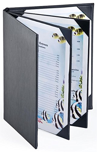 Set of 25, 4-page Menu Covers with Hardcover Design Hold (6) 8.5x11 Entrée Lists, Restaurant Menu Holders with Photo Album-style Corners, Black, Synthetic Leather - 9'' x 11'' x 1'' by Displays2go