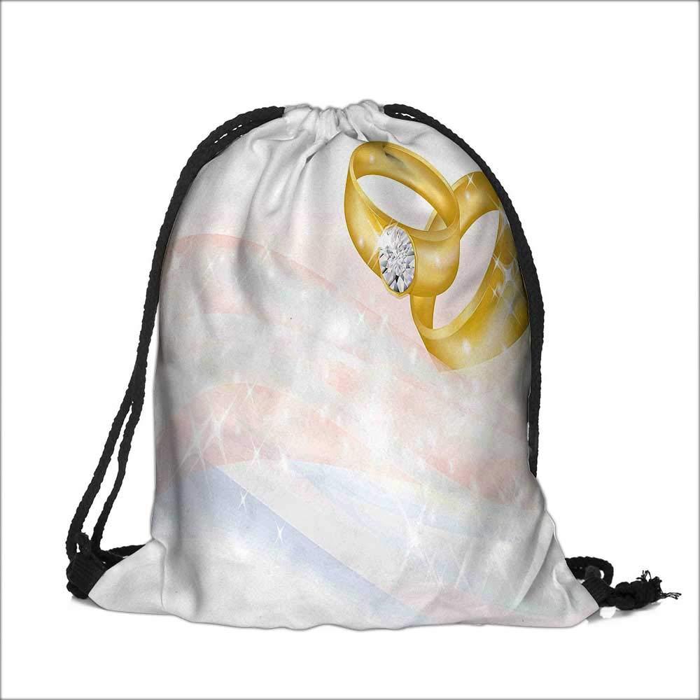 Drawstring Sacks Bundle Pocket Bag for Kids Wedding Rings on Backdrop Jewelry Gemstone Light Pink Baby Blue with Drawstring Camping Travel 12''W x 17.5''H
