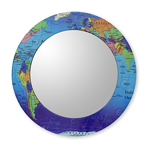 NOVICA Global Travel Art World Map Wall Mounted Mirror with Wood Frame, Round, 'Around the - India Frame Glasses Round