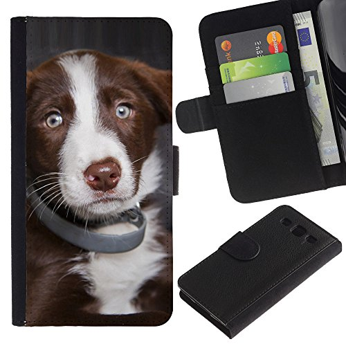 EuroCase - Samsung Galaxy S3 III I9300 - australian shepherd dog puppy blue eyes - Cuero PU Delgado caso cubierta Shell Armor Funda Case Cover