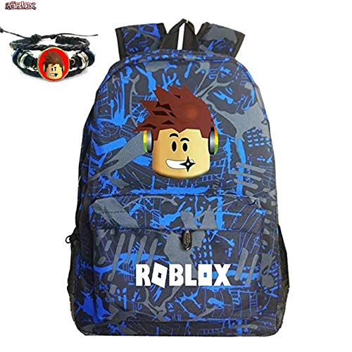 Roblox Backpack For Boys or Girls With Free Roblox Gift Roblox Wristband (Blue/Grey) ()