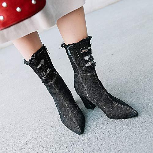 Black Y De Punta Tacón Con Zapatos cn34 Cremallera cn41 Gruesa Para Estrecha Vaqueras Botas blue Laterales Grueso Invierno Mujeres TpOCwFT5xq