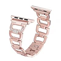 Secbolt Bling Bands for Apple Watch Band 38mm Women Stainless Steel Metal Replacement Wristband Sport Strap for Iwatch Nike+, Series 3 2 1, Edition, 4 Colors Available