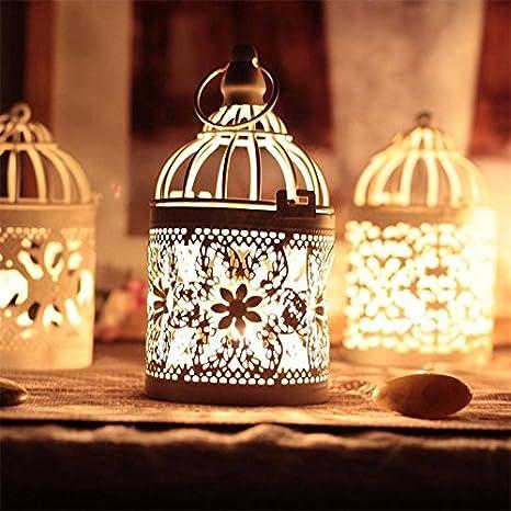 Kentop 8/x 14/cm Metal Bird Cage Candle Holder Lantern Home Table Decoration White 8 8 14CM 1pcs
