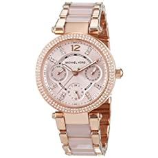 Michael Kors Parker Rose Dial Rose Gold SS Chrono Quartz Ladies Watch MK6110