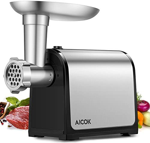 AICOK Electric Meat Grinder, 3-IN-1 Meat Mincer Sausage Stuffer, 2000W Max Food Grinder with Sausage Kubbe Kits, 2 Grinding Plates, Stainless Steel, Home Kitchen Commercial Use, FDA certified