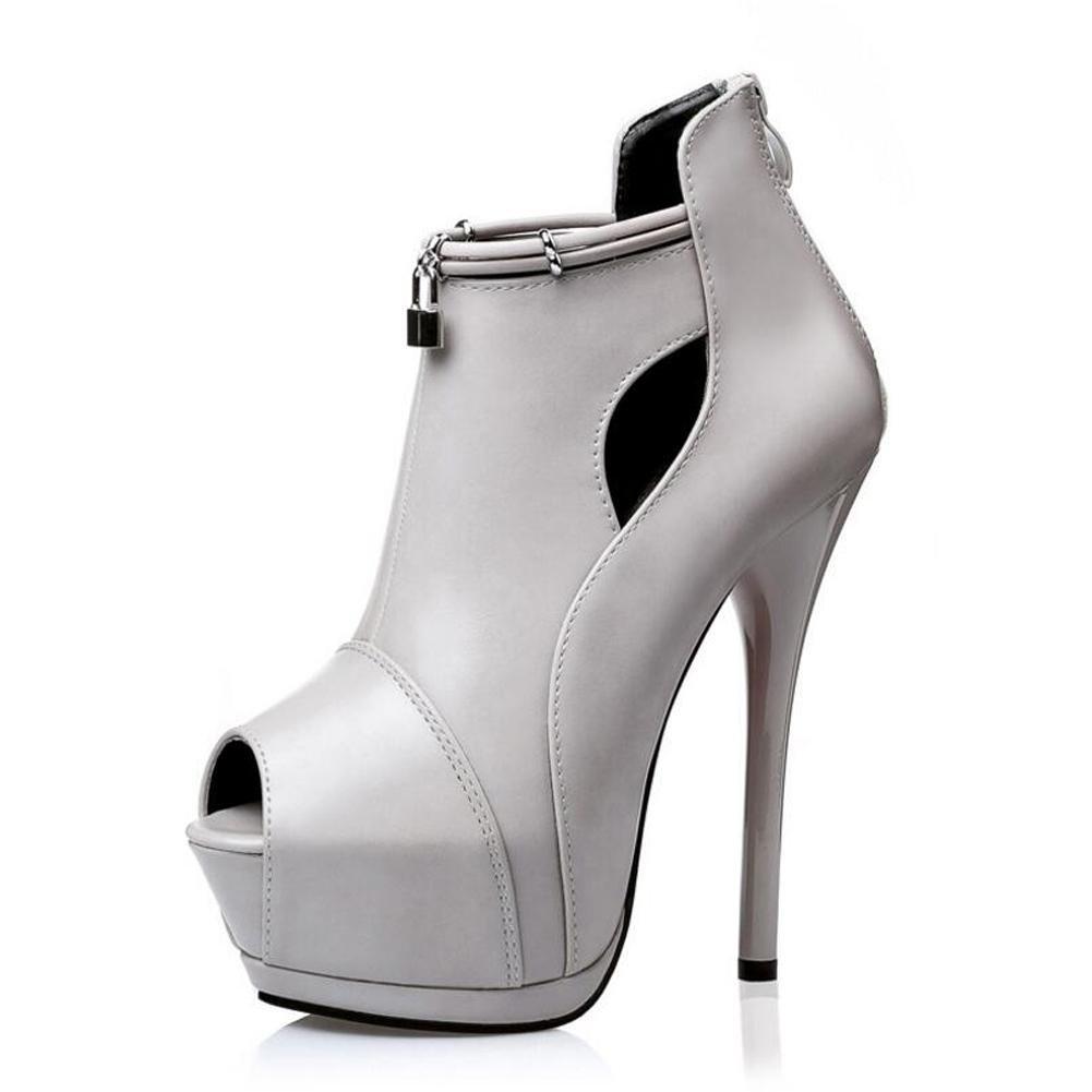 Chaussures à Talons Hauts Chaussure Pour Bouche Femmes Chaussure éTanche Fine à Lacets 14cm Sandales à Bouche Fine Grey c0c54f1 - epictionpvp.space