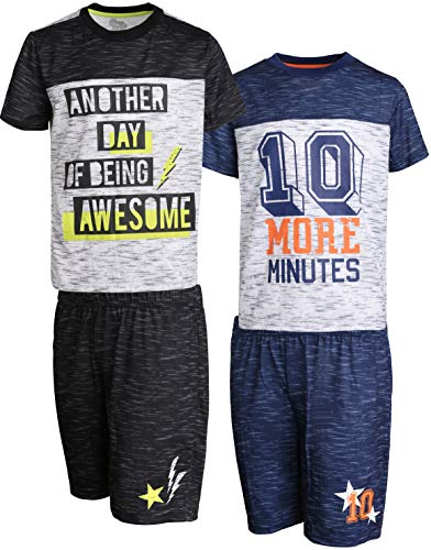 Sleep On It Boys 4-Piece T-Shirt and Shorts Pajama Set (2 Full Sets), Black/Navy, Size Small - 6/7\''