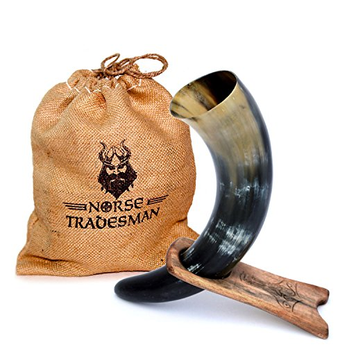 """Norse Tradesman Genuine 12"""" Ox-Horn Viking Drinking Horn w/ Solid Wood Stand Engraved with Thor"""