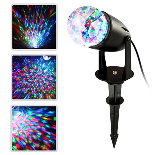 Coastacloud Led Projector Light Holiday Decoration Light Moving Water Wave Spotlight Stake Lamp Waterproof Multicolor Kaleidoscope Projection for Halloween, Christmas Party]()