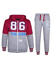 a2z4kids GIRLS TRACKSUIT TIGERS 86 BROOKLYN CALIFORNIA JOG SUIT HOODIE & JOGGERS 7-13Yr
