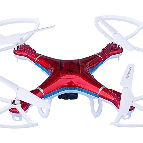 QCopter Drone Quadcopter w/HD FPV Wifi Camera BONUS Drones Battery and Crash Kit Included; (RED)