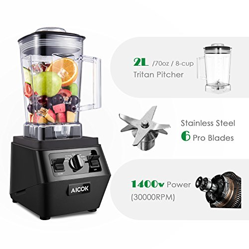 Aicok Smoothie Blender 1400W Professional High Speed Mixer 30,000RPM, with 70oz BPA-Free Tritan Pitcher, Variable Speed Controls, Stainless Steel 6 Pro Blades for Ice Crushing, Black by Aicok (Image #1)
