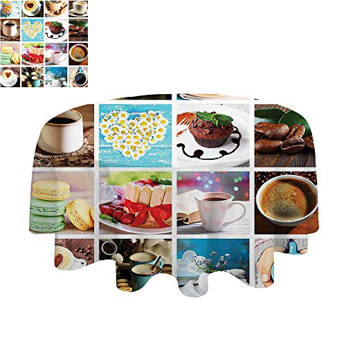 SATVSHOP Chateau Easy-Care Cloth-45Inch-for Family, Party, Wedding.Kitchen Collage of Different Photos Coffee Cups Beans Cake Macarons Tasty Food and Drinks