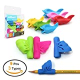 Pencil Grips for Kids,Firesara New Design Ergonomic Butterfly Wing and Fish Style Colored Pen Training Grip Holder Handwriting Claw Aid For Adult or Children or Kindergarten or Toddler or kids (9 PCS)