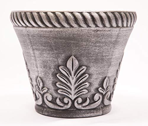 Rustic Venetian Look Plastic Planter 10X8 inches Flowerpot for Indoor, Outdoor, Garden, Patio, Office Ornaments, Home Decor, Long Lasting Reusable, Light Weight, Water Resistant (Silver) (Classical Urns Vases)