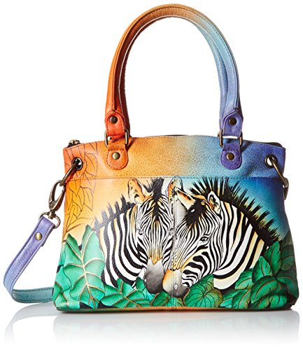 Zebra Print Satchel Handbag (Anuschka Handpainted Leather Small Satchel, Zebra Safari)