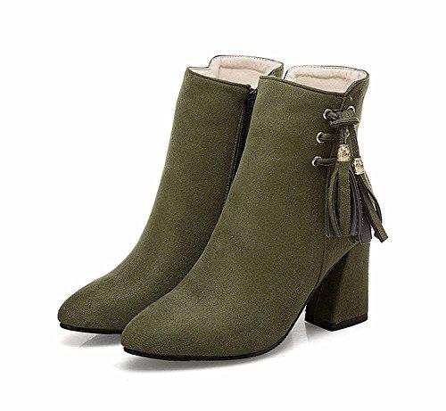 Herbst Ankle Wies EU 50 Grün Frauen 40 Mode Neue Quaste Heel Größe Boots Stiefel High TBtnw4