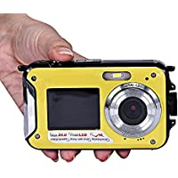 Kwok Double Screen Waterproof Camera 24MP 16x Digital Zoom Dive Camera (Kwok Photography series) (Yellow)