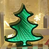 Rockrok Christmas Tree Night Light 3D Mirror Lamp LED Tunnel Home Decoration Gifts