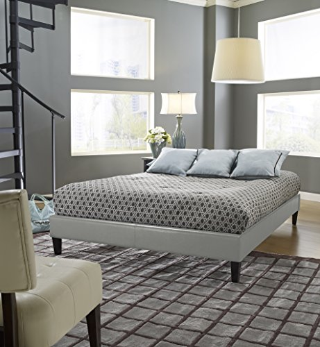 Full Size Gray Finished Upholstered Faux Leather Platform Bed Frame, Bonus Base Wooden Slat System, Heavy Duty Construction, Contemporary, Bundle with Our Expert Guide with Tips for Home Arrangement