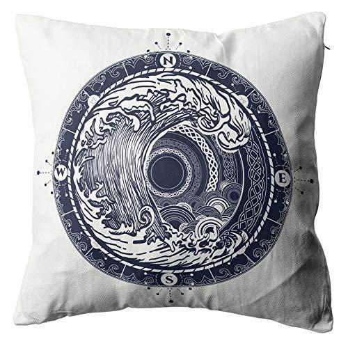 Eaiizer Sea Compass Storm Tattoo Celtic Style Throw Pillow Cove Square Cushion Cover Pillowcase for Men Women Home Decorative Sofa Bedroom Livingroom 20