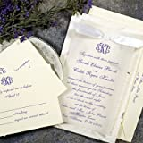 Gartner 50-Count Hand Made Paper Wedding Invitation Kit - Natural Purple Pape...