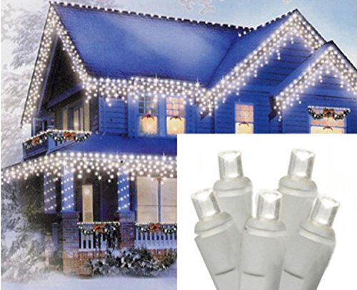 Set of 70 Pure White LED Icicle Christmas Lights - White Wire