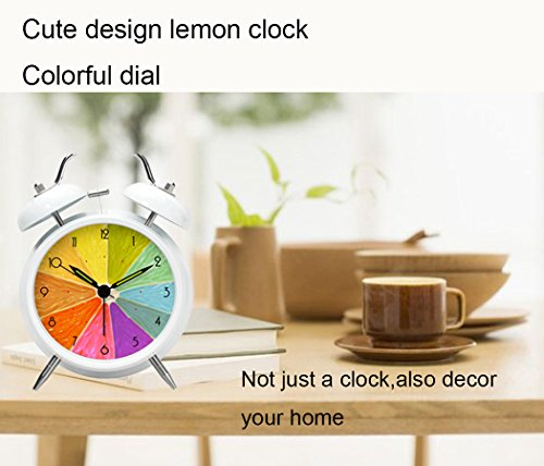 Enjoy Best Time White Loud Twin Bell Wake Up Desk Alarm Clock,Smart Nightlight Cute Lemon Clock For Bedroom Or Girls