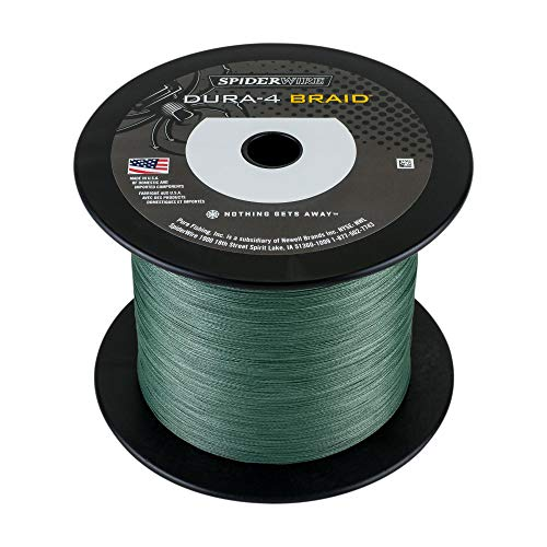 - Spiderwire DURA-4 Braided Fishing Line, 1500 yd, 80 lb, Moss Green