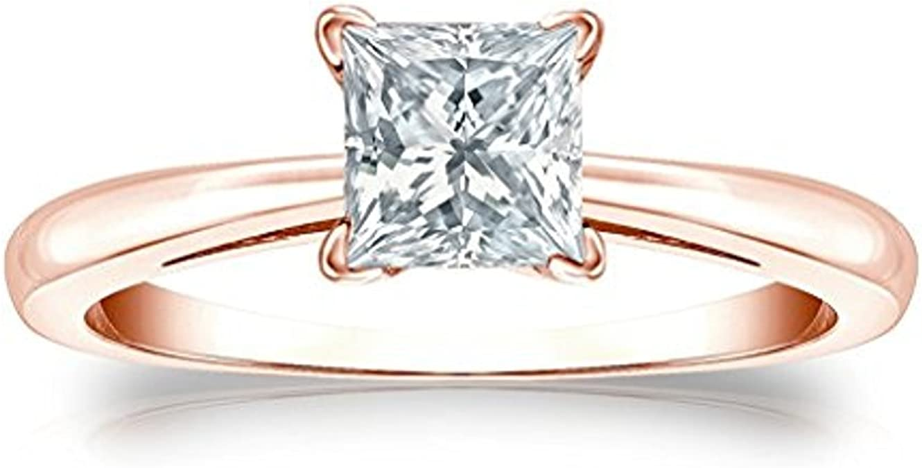 tusakha 14K White Gold Over 925 Sterling Silver Solitaire Princess Cut Blue Topaz Mens Wedding Band Engagement Ring
